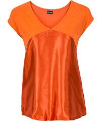 BODYFLIRT T-shirt à empiècement satin rouge manches courtes femme - bonprix