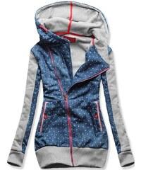 Sweatjacke blau grau D220 Jeans Motiv