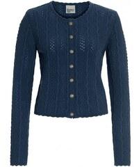Distler Damen Strickjacke Cardigan figurnah blau mit Wolle