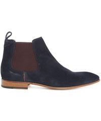 PAUL SMITH PS Marineblaue Chelsea Boots aus Veloursleder Falconer