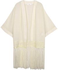 Lesara Kimono mit Fransen-Saum - Creme - S