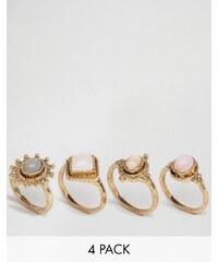 ASOS - Bagues à superposer pierres pastel - Multi