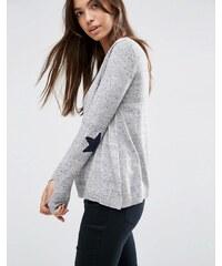 ASOS - Pullover mit sternförmigen Ellbogenflicken - Grau