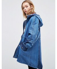 ASOS - Parka en jean délavé - Bleu