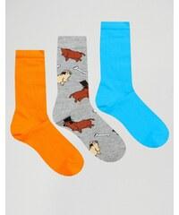 ASOS - Lot de 3 paires de chaussettes motif carlin chic - Multi