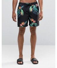 ASOS - Bermuda de bain à imprimé fleuri tropical - Noir