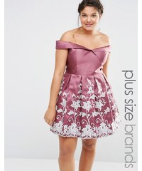 Chi Chi Plus Chi Chi London Plus - Bardot-Ballkleid mit Stickerei - Rosa