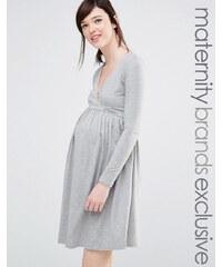 Club Lounge Maternity Club Lounge - Mode für Schwangere - Langärmliges Skaterkleid mit Vorderseite in Wickeloptik - Grau