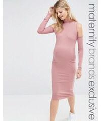 Club Lounge Maternity Club L - Lounge Mode für Schwangere - Geripptes schulterfreies Kleid - Rot
