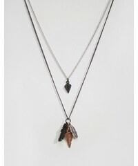 Icon Brand - Lot de colliers à plumes - Noir
