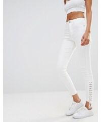 Missguided - Sinner - Jean skinny lacé à taille haute - Blanc