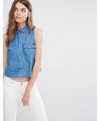 Pull&Bear - Chemise en jean sans manches - Bleu