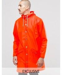 Rains - Wasserfeste, lange Jacke in Orange - Orange