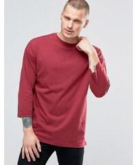 Religion - Sweatshirt mit 3/4-Ärmeln und Rundhalsausschnitt sowie tiefer Schulter - Rot
