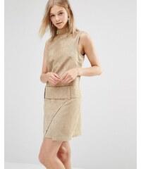 Shades of Grey - Minikleid in Wildlederoptik mit tief angesetzter Taille - Bronze
