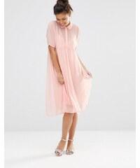 The WhitePepper - Schimmerndes Hemdkleid - Rosa