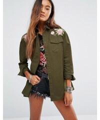 Young Bohemians - Veste style militaire avec fleurs délicates brodées - Vert