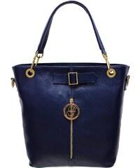 Glamorous by Glam Dámská kožená kabelka se zipem - modrá