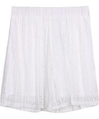 Lesara High Waist-Shorts mit Spitze - Weiß - S