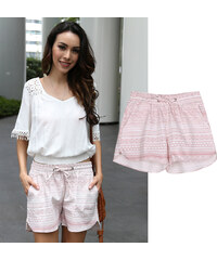 Lesara Kurze Shorts mit Ethno-Muster - S