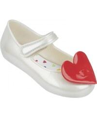 Mel by Melissa Mel bílé dětské boty Cool Baby Heart White/Red