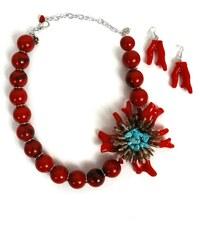 Doca červený náhrdelník a náušnice