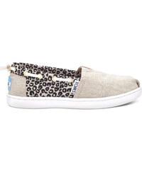 Toms béžové dívčí boty Cheetah Metallic Linen