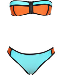 Lesara Dreifarbiger Bandeau-Bikini mit Reißverschluss - Orange - S