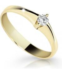 Danfil Zlatý zásnubní prsten DF 1956, žluté zlato, s briliantem