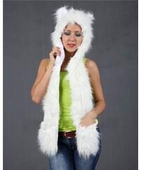 Ocuz Plyšová Zvířecí čepice animal - bílá liška