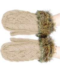 Ocuz Zimní hnědé pletěné rukavice s kožíškem