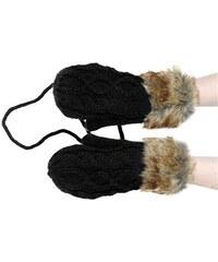 Ocuz Zimní černé pletěné rukavice s kožíškem
