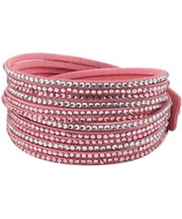 Lodestar Kožený náramek dvouřadý s krystaly růžová