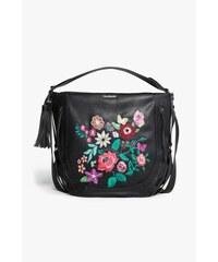 Desigual černá kabelka Marteta Lily s barevnými květinami