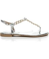 VICES Elegantní stříbrné sandálky perlové