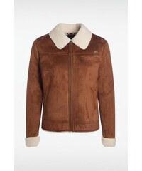 Veste femme cuir suède Marron Coton - Femme Taille L - Bonobo
