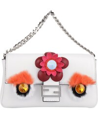 Fendi Sacs à Bandoulière, Micro Baguette Bag Nappa Shiny Applications Cristal en blanc