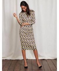 Kleid mit Taillenraffung Gelb Damen Boden