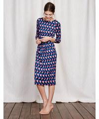 Kleid mit Taillenraffung Blau Damen Boden