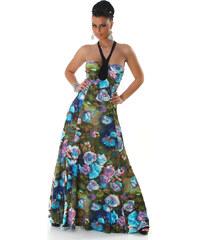 000 Dámské šaty letní maxi s tyrkysovými květy