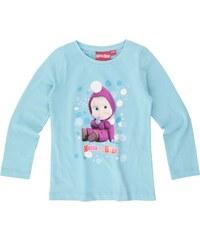 Mascha und der Bär Langarmshirt hellblau in Größe 104 für Mädchen aus 100% Baumwolle