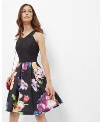 Ted Baker Plissiertes Kleid mit Tapestry Floral-Print Schwarz