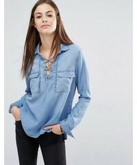 Abercrombie & Fitch - Chemise en jean très douce avec laçage - Bleu