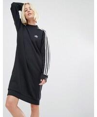 adidas Originals - Sweatshirt-Kleid mit drei Streifen - Schwarz