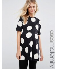 ASOS Maternity - Gepunktete Oversized-Tunika mit seitlichen Schlitzen - Mehrfarbig