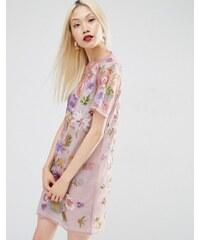 ASOS - Jolie robe t-shirt en tulle brodé avec caraco métallisé - Multi