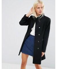 ASOS - Manteau patineuse en laine mélangée avec col cheminée - Noir