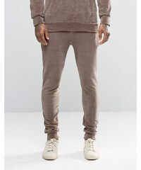 Criminal Damage - Pantalon de jogging skinny en velours - Marron