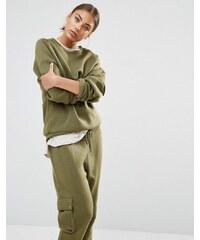 Daisy Street - Sweat style militaire avec poche coordonnées sur la manche - Vert