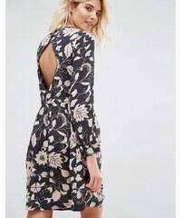 Gat Rimon - Moco - Robe imprimée à fleurs à manches longues et dos ouvert - Noir